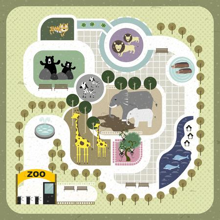 lovely zoo map illustration in flat design Vector
