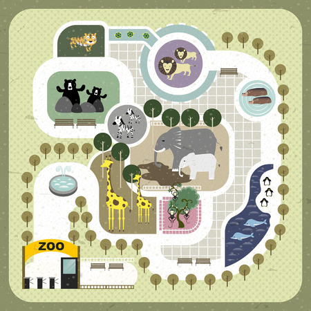 zoo animals: lovely zoo map illustration in flat design
