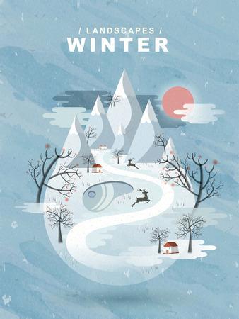 water scape: elegant frozen winter landscape in flat design Illustration