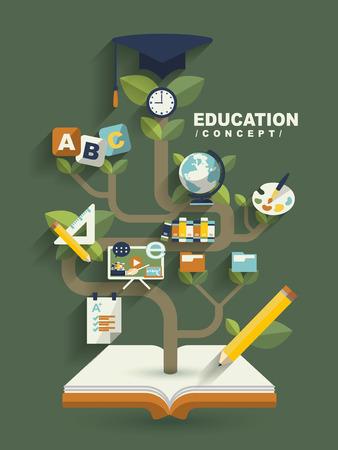 creatief concept onderwijs plat design met boek boom elementen