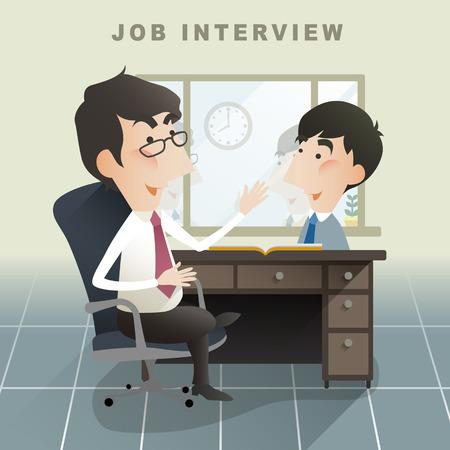 job interview scene in flat design style Vector