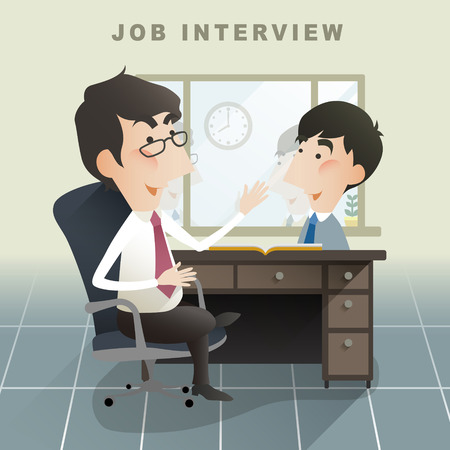 to interview: job interview scene in flat design style