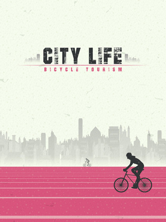 bicycle tourism of city life in flat design style