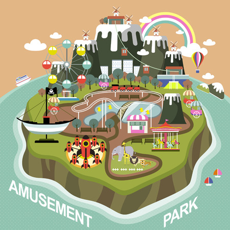 amusement park elements on an island in flat design