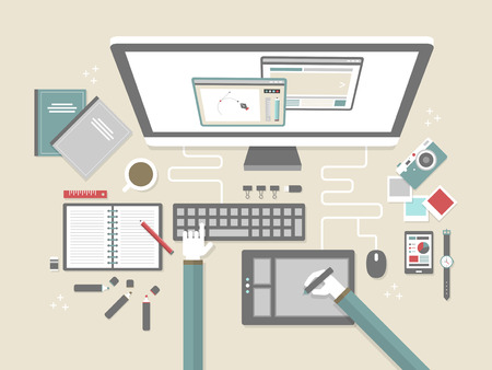 top view of modern workplace in flat design