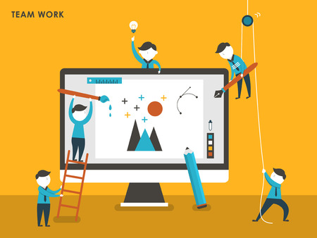 team working together: collective creation concept in flat design style