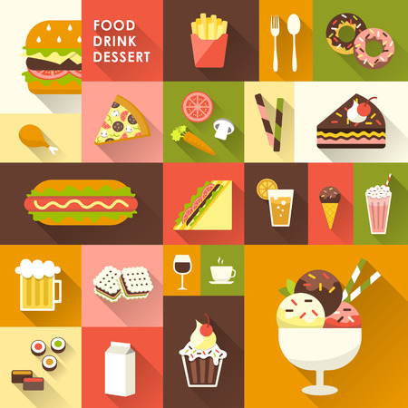 dessert: delicious desserts collection in flat design style