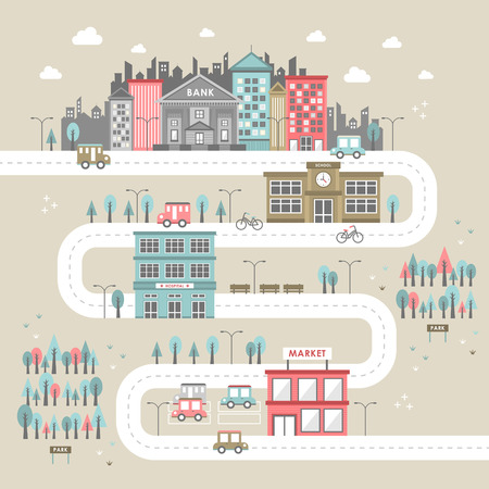 downtown scenery illustration in flat design style