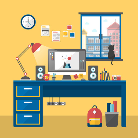 desk lamp: personal workplace scene in flat design style