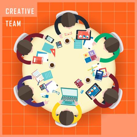 bovenaanzicht van het creatieve team van werk in een platte design stijl