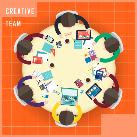 briefing: top view of creative team work in flat design style