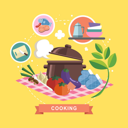 cooking utensils: cooking concept illustration in flat design style Illustration