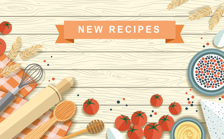 baking ingredients: various recipe ingredients isolated on wooden table in flat design