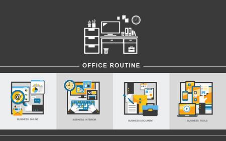 フラットなデザイン スタイルのオフィス ルーチンの概念