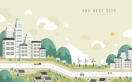 the best city scenery in flat design style Çizim