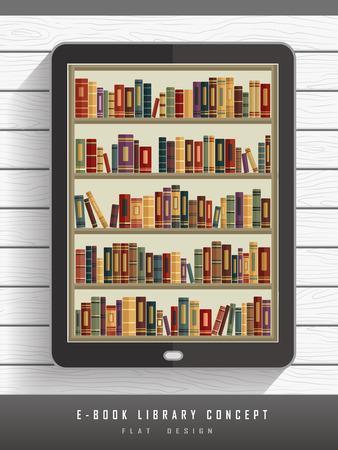 scientific literature: e-book library concept in flat design style Illustration