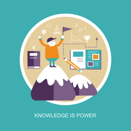 knowledge concept: knowledge is power concept in flat design style Illustration