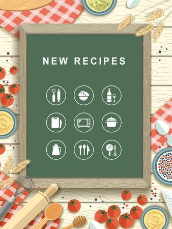 sugar cookies: new recipes written on chalkboard in flat design style