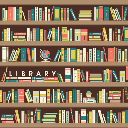 library scene illustration in flat design style
