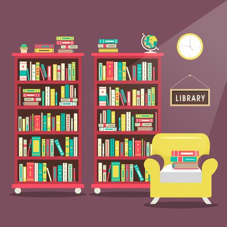 library scene illustration in flat design style