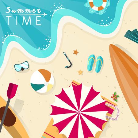 beach ball: summer beach scenery illustration in flat design style