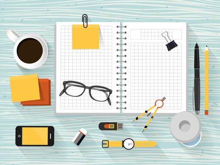 worktool: close up look at workplace objects in flat design style