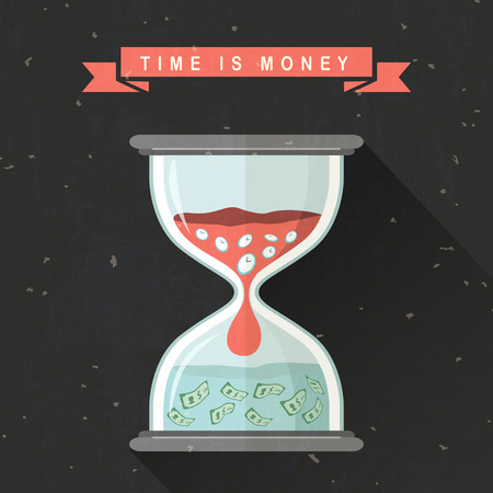 sand dollar: time is money concept with hourglass in flat design