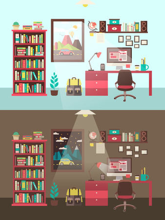 interior decoration: personal workplace concept in flat design style