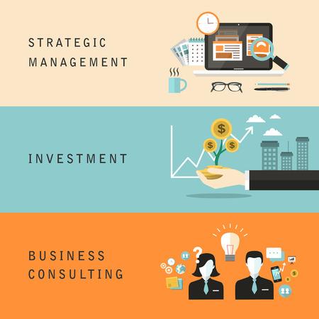 strategic management: flat design for strategic management