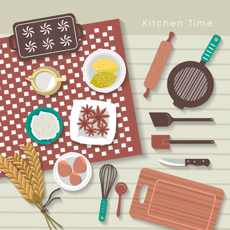breakfast bowl: baking ingredients on kitchen table in flat design style Illustration