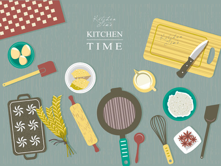 baking ingredients on kitchen table in flat design style Illustration