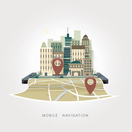 mobile navigation apps concept in flat design style Ilustrace