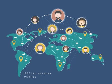 alrededor del mundo: social Concepto de dise�o de la red en estilo plano