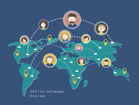 global links: social network design concept in flat style Illustration
