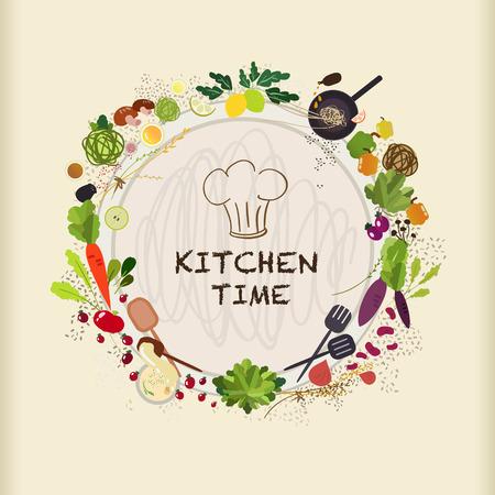 vlakke keukentafel voor het koken met verschillende voedingsmiddelen in platte ontwerp