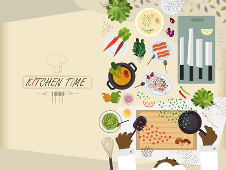 flat kitchen table for cooking with various food in flat design Illustration