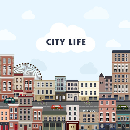 country life: cityscape scenery with colorful buildings in flat design