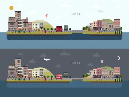 フラットなデザインで美しい都市景観を昼と夜設定  イラスト・ベクター素材