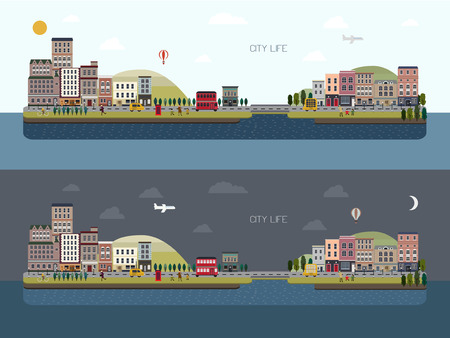 day night: lovely city landscape day and night set in flat design