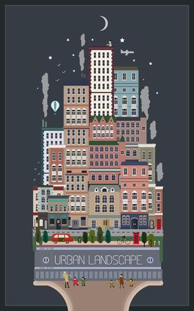 modern style city landscape in flat design