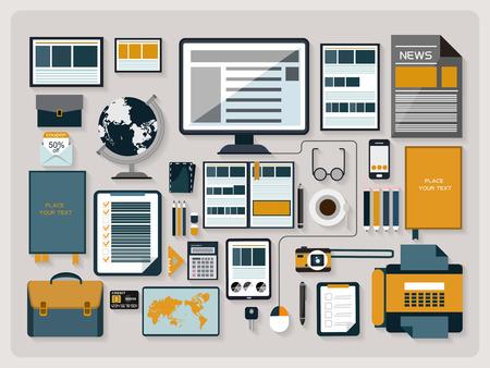 espacio de trabajo: elementos del espacio de trabajo de oficinas modernos y creativos en dise�o plano Vectores