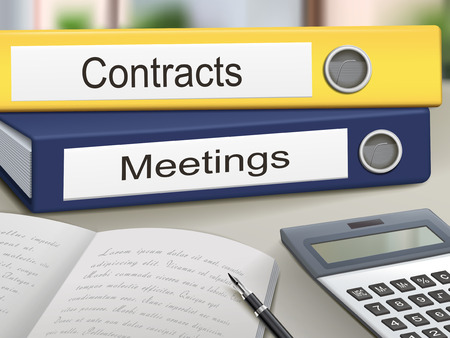 dossier: contracts and meetings binders isolated on the office table Illustration