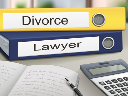 divorce: divorce and lawyer binders isolated on the office table Illustration