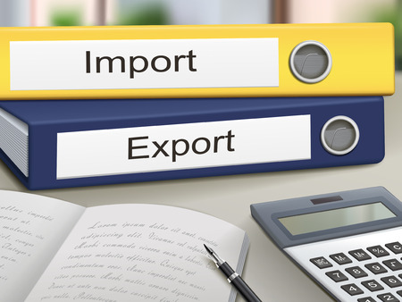 exported: import and export binders isolated on the office table