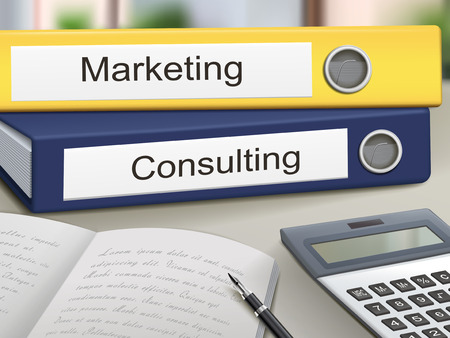 consulting services: marketing and consulting binders isolated on the office table Illustration