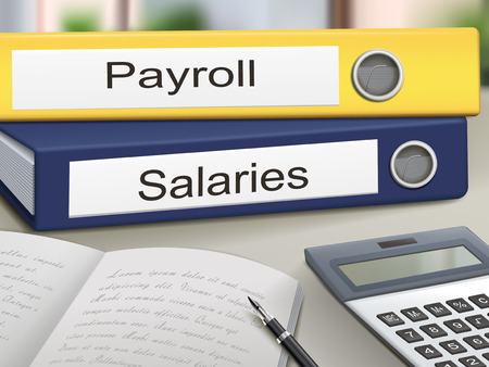 deductions: payroll and salaries binders isolated on the office table