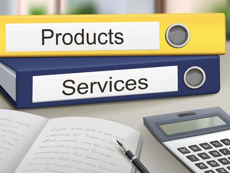office products: productos y servicios carpetas aislados en la mesa de la oficina