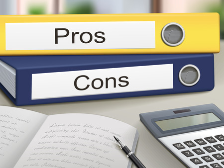 cons: pros and cons binders isolated on the office table