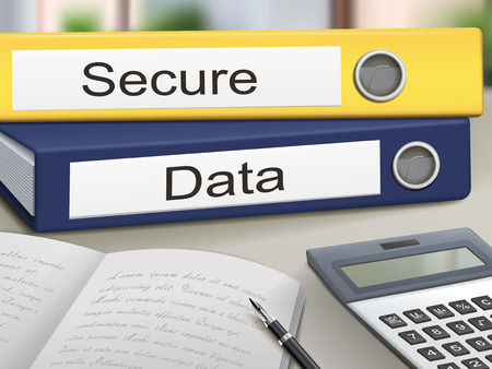 espionage: secure and data binders isolated on the office table Illustration