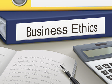 business ethics: business ethics binders isolated on the office table Illustration